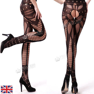 Plus+ Size Bodystocking Crotchless Sleeved Fishnet Lace Sexy Lingerie Underwear