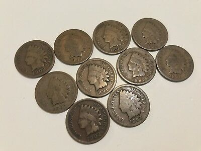 -F. Lot of 10 US Indian Head Wheat Pennies from Estate Coin Collection Lot