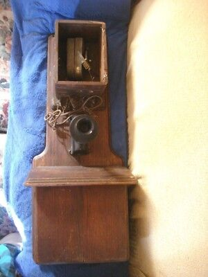 """Antique Wooden Wall Telephone Vintage Phone Western Electric Parts restore 36"""""""