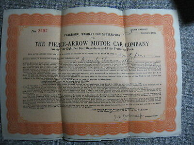 1923 Pierce Arrow Motor Car 2 Shares Stock - Letter And Application Certificate