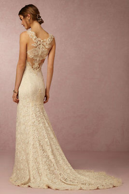 BHLDN PETRA Wedding GOWN Bridal DRESS V-Neck LACE Willowby WATERS XL 16 New NWT!