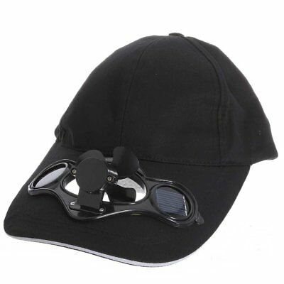Black Solar Powered Air Fan Cooled Baseball Hat Camping Traveling WS O7M2