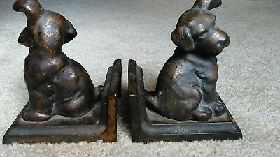 Vintage Littco Cast Iron Bookends CURIOUS PUP circa 1920