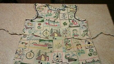 Vintage Girl Scout Print Fabric Apron~Badges, Music, Cooking, Camping Must see!