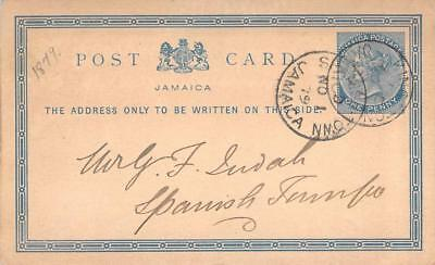 1879 Jamaica Post Card, One Penny, Kingston - Spanish Town Postmarks