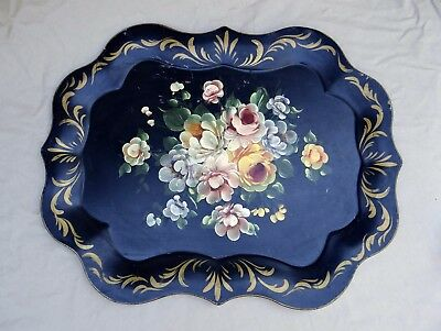 Vintage Black Metal Tole Hand Painted Flowers Serving Tray Philadelphia PA