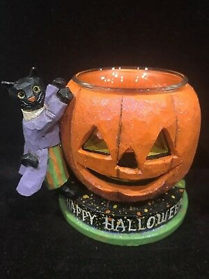 Halloween Black Cat & Pumpkin Candle Holder - Pam Schifferl - Midwest of Cannon