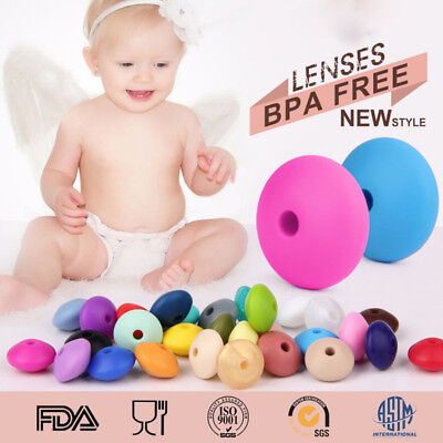 50Pcs Lentil Silicone Loose Beads Baby Teething Necklace Teether Making BPA Free