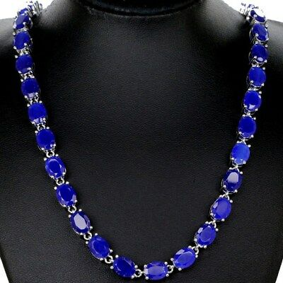 """Gorgeous Real Blue Sapphire SheCrown Wedding Silver Necklace 18.0 """""""