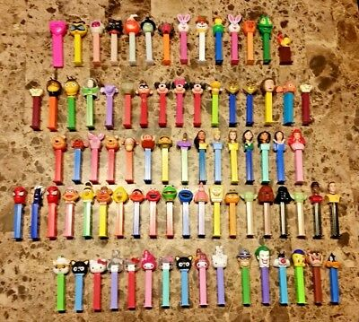 Large Assorted Lot of 81 PEZ Candy Dispensers, 31 Disney, 10 Hello Kitty, & More