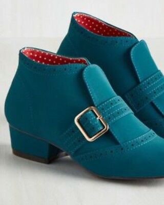 NIB Modcloth B.A.I.T Royal Teal Booties Size 9