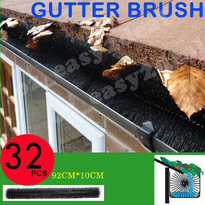32 PCS Hedgehog Gutter Guard Protector Filter Leaf Twigs Black Nylon Brush LONG