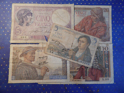 French currency Lot of 5, 10 & 20 French Franc Notes (5 notes in all)