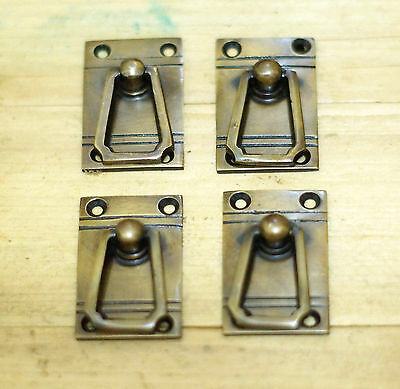 Lot of 4 pcs Vintage RETRO square Drop Pull Hardware Cabinet Brass Drawer Pulls