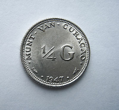 1947 1/4 Gulden Coin Netherlands Curacao Km44 Perfect