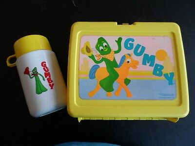 VINTAGE Gumby and Pokey Show Lunchbox and Thermos Plastic Yellow 1980s