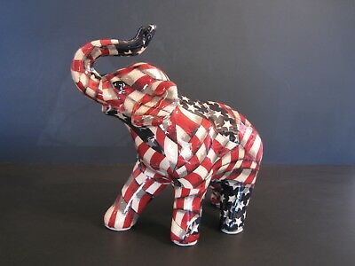 La Vie Americana Collection Patchwork Standing Elephant, ceramic, American flags