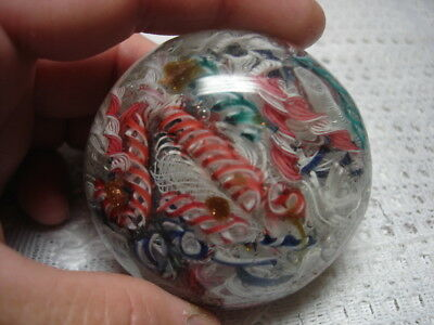 "Beautiful Vintage Unsigned ""Very Busy"" Art Glass Paperweight"