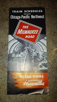 The Milwaukee Road Railroad Train Schedules Chicago-Pacific Northwest 1950s