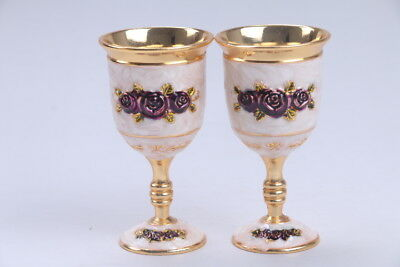 Exquisite Chinese  Cloisonne handmade flower a pair cup  BB502