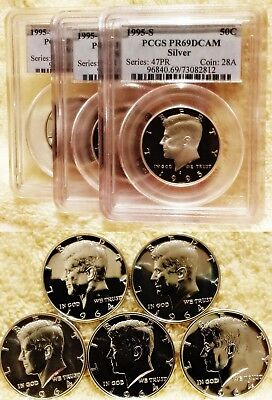 Lot Of 8 Silver Kennedy Halves: Three Pcgs Pr69Dcam 1995-S & Five 1964 Proofs