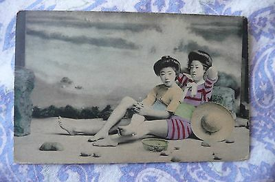 Vintage  JAPAN 1910's 2 Geishas in bathing  suits at the beach, Hand tinted
