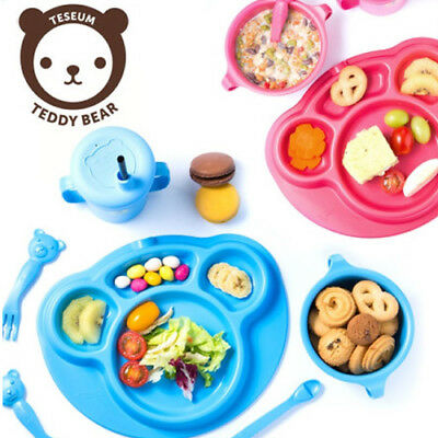 Non-Toxic Safe Corn PLA Kids Children Food Plate Fork Spoon Teddy Angel Set -RED