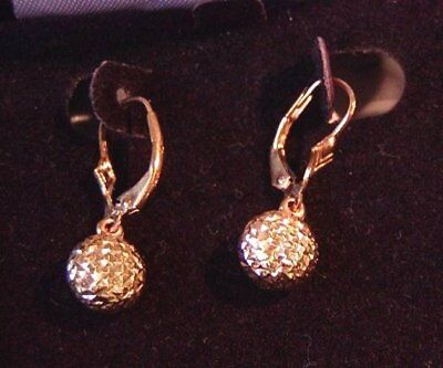 "14K Yellow Gold ""pineapple Ball"" Dangling Lever Back Earrings New Old Stock Nib"
