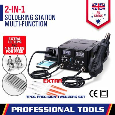 2in1 Soldering Iron Solder Rework Station Hot Air Gun Digital SMD Desoldering OZ