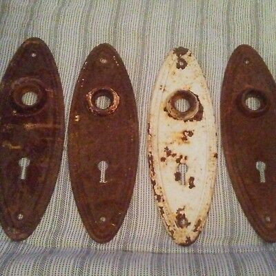 4 Victorian ART DECO oval beaded Door Knob escutcheons plates Antique vtg