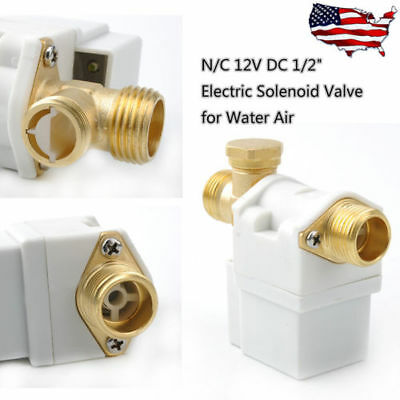 """1/2"""" Electric Solenoid Valve For DC12V Water Air N/C Normally Closed 0.02-0.8Mpa"""