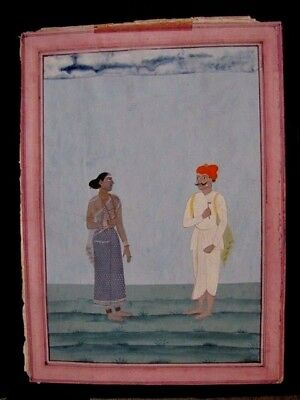 Authentic Mid 19Th Century Indian Miniature Painting Man & Woman Couple, Lovers
