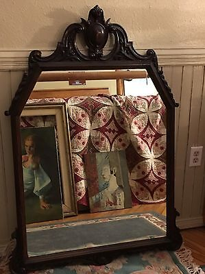 Antique Victorian EXTRA LARGE Dark Solid Wood Carved Wall Mirror