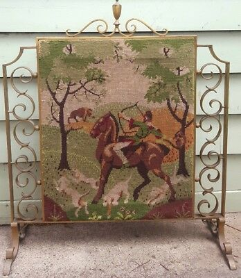 Vintage Fire Screen with Needlepoint