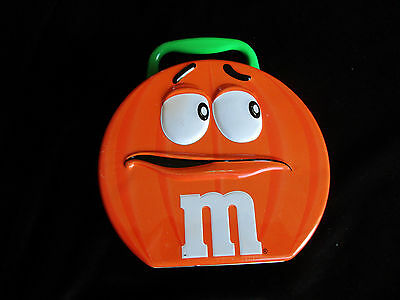 M & M's Halloween Pumpkin Character Tin Metal Lunch Box Container 2003