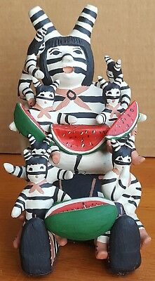 Clown Kachina Storyteller Pueblo Pottery Native American Indian Signed JK