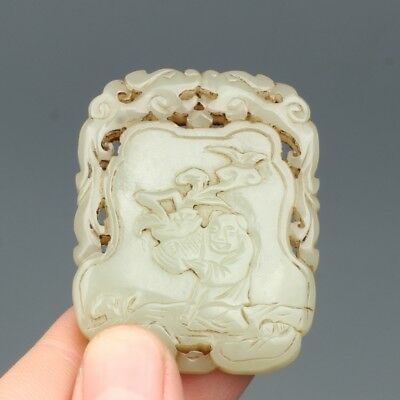 China Exquisite Hand-Carved brave troops & character carving Hetian Jade Pendant