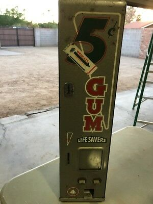Vintage Original Wrigleys Theme Gum Vending Machine COIN-OP 5 Cent L@@K