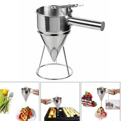 Stainless Steel Conical Sauce Funnel with Shelf Octopus Fish Balls Kitchen Tool