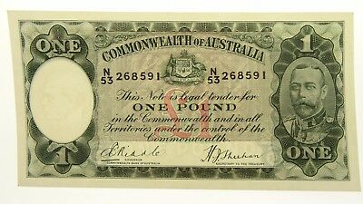 1933 One Pound Riddle / Sheehan Banknote in Uncirculated Condition