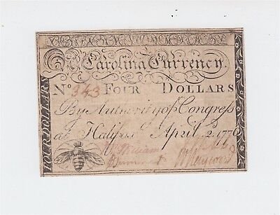 Colonial Currency / 1776 North Carolina $4 note / April 2, 1776 bumblebee motif