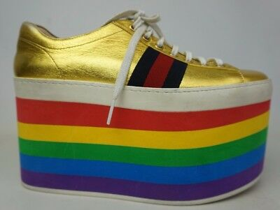 051d4a7ec Gucci Peggy Leather Platform Sneaker Metallic Gold Rainbow Shoes Size 37