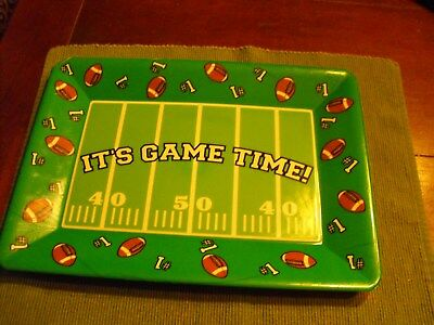 It's Game Time hard plastic serving tray football superbowl party man cave