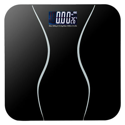 180kg LCD Ultra Slim Glass Precision Electronic Bathroom Weight Scale Black