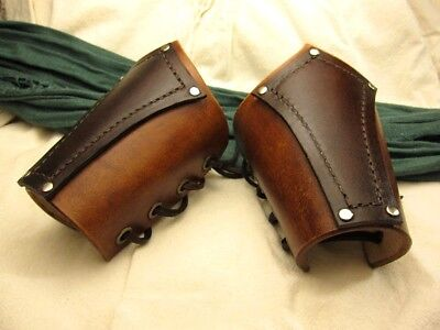 Pirate leather bracers medieval brown
