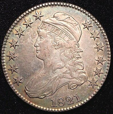 1821 50C Capped Bust Half Dollar - XF+ AU Almost Uncirculated