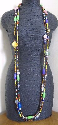 """Long Beaded  Multi Colour Seed Necklace - 70"""""""