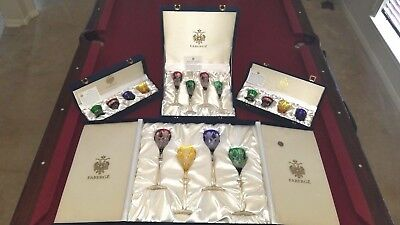 Lot Faberge Czar Imperial Crystal 8 shot, 4 goblet, 4 flute. Signed With Boxes