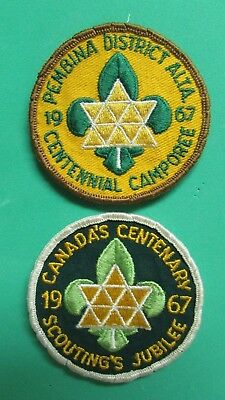 Canada's Centenary 1967 Scouting's Jubilee Patch & Pembina District 1967 Patch