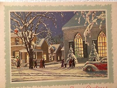 Vtg Mc Church Goers In The Snow Car Artist Signed Front Only Christmas Card